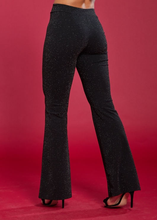Black Glitter Flare Leg Trousers