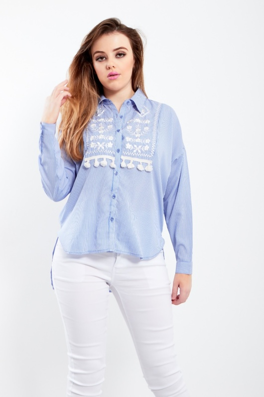 Blue Tassel Embellished Embroidered Stripe Blouse