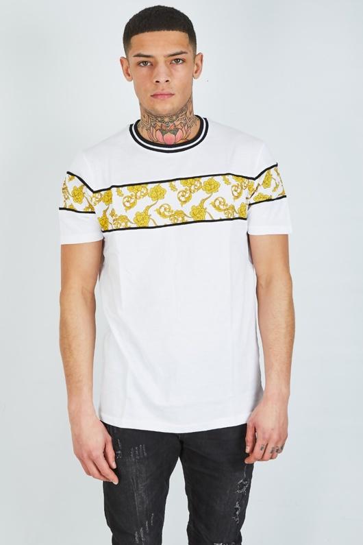 Mens White Baroque Panel T-shirt