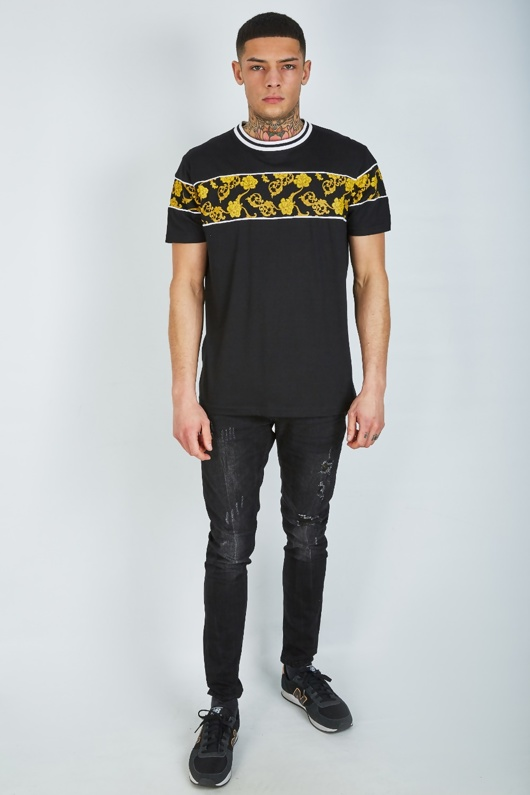 Mens Black Baroque Panel T-shirt