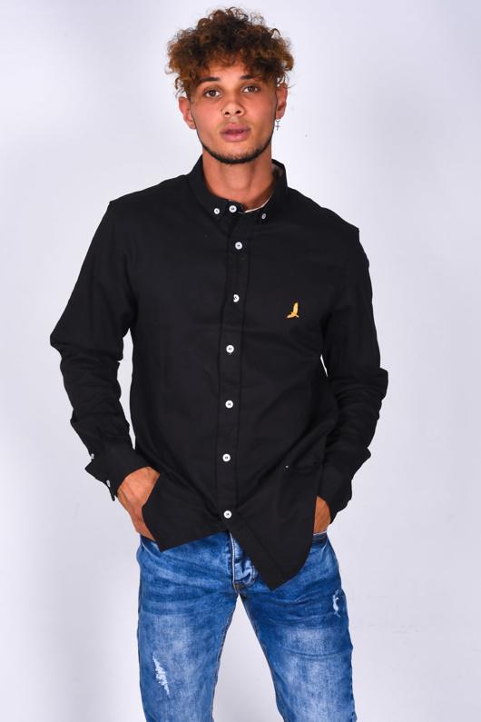 Mens Black Bird Logo Button Up Shirt