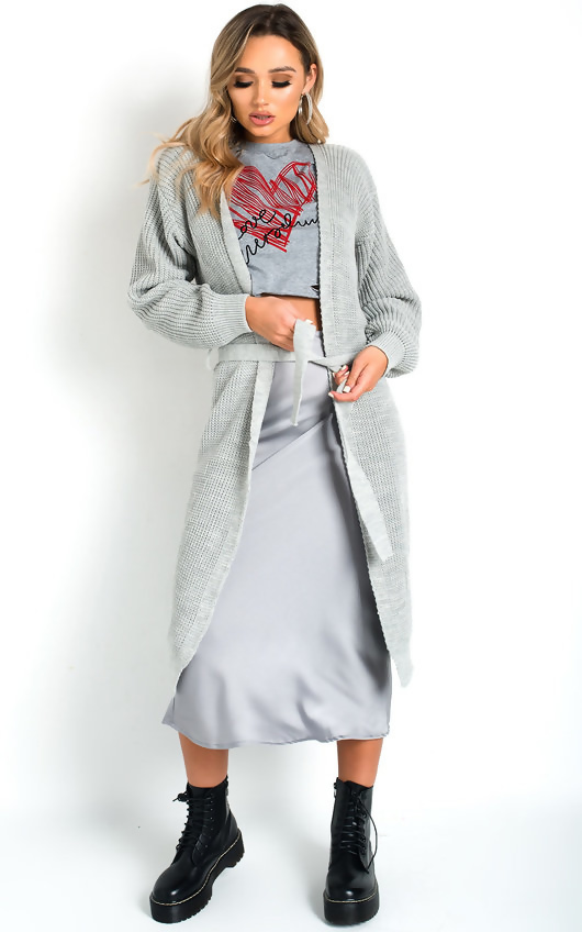 Grey Green Knit Longline Belted Cardigan