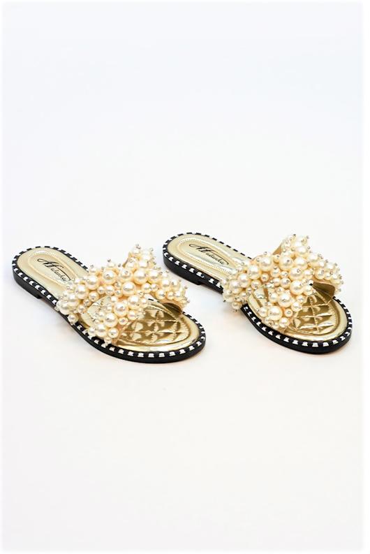 Gold Pearl Embellished Slip On Sandals