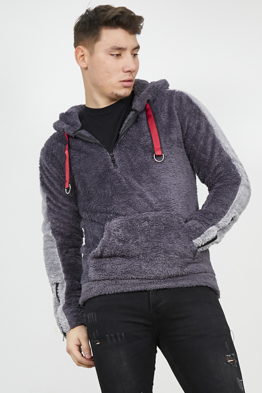 Grey Borg Hoodie With Contrast Stripe