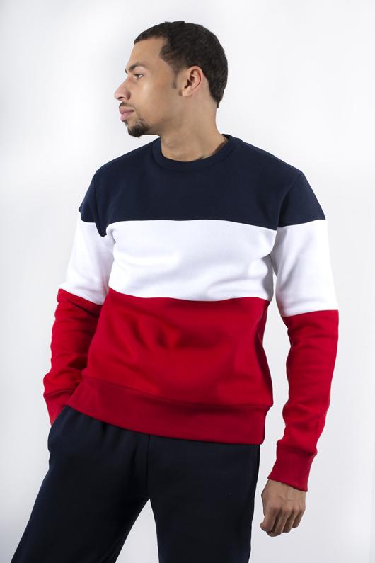 Mens Navy Long Sleeve Colourblock Sweatshirt