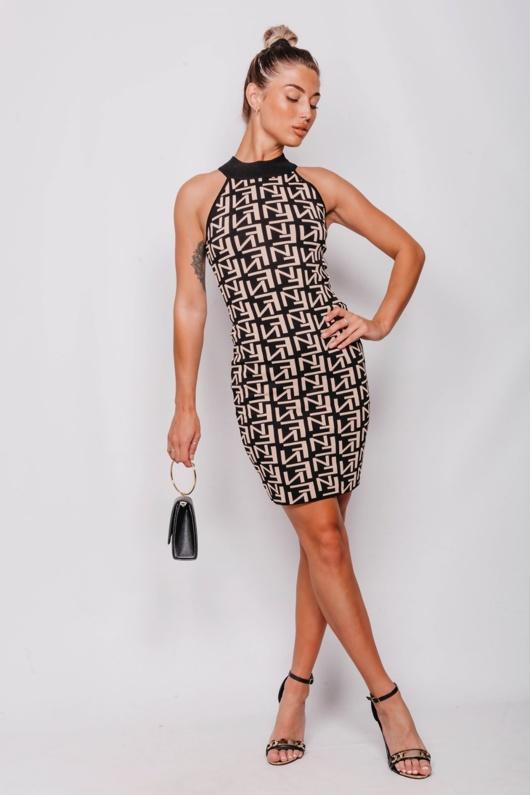 Black Printed Halter Bodycon Dress