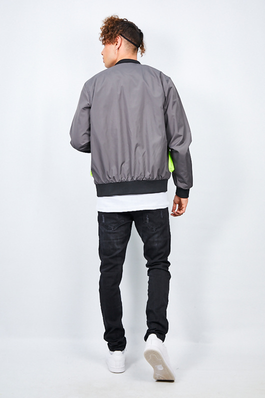Charcoal Neon Utility Pocket Detail Bomber Jacket