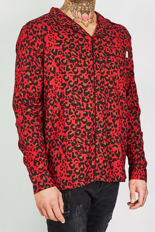 Mens Red Leopard Print Long Sleeve Shirt