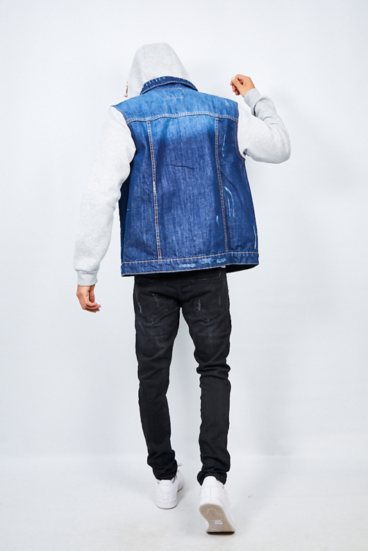 Mens Blue Contrast Sleeve Denim Jacket