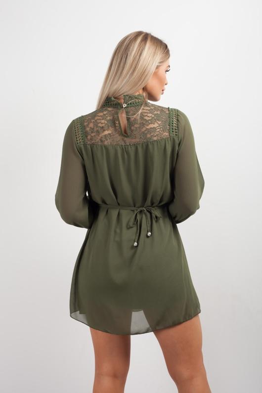 Green Crochet Detail Bishop Sleeve Tie Dress