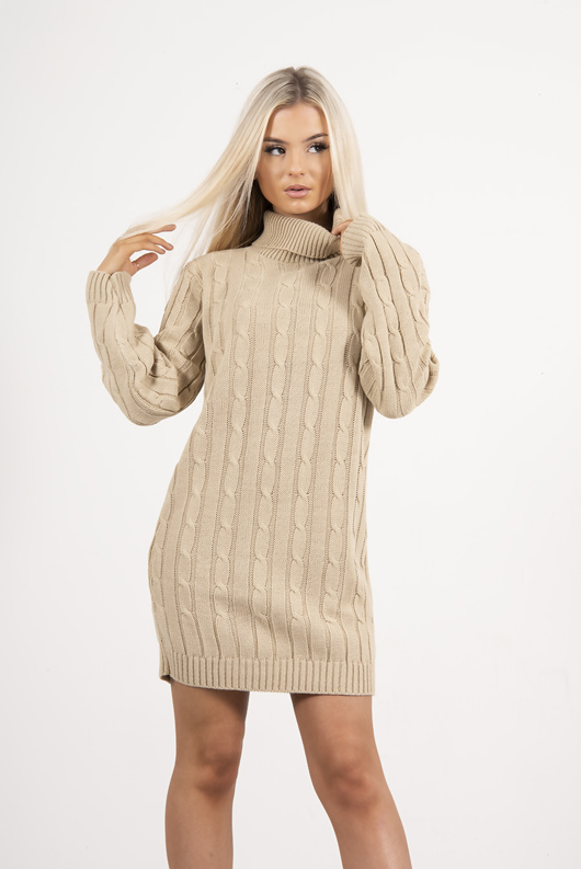 Beige Cable Knit Roll Neck Jumper Dress