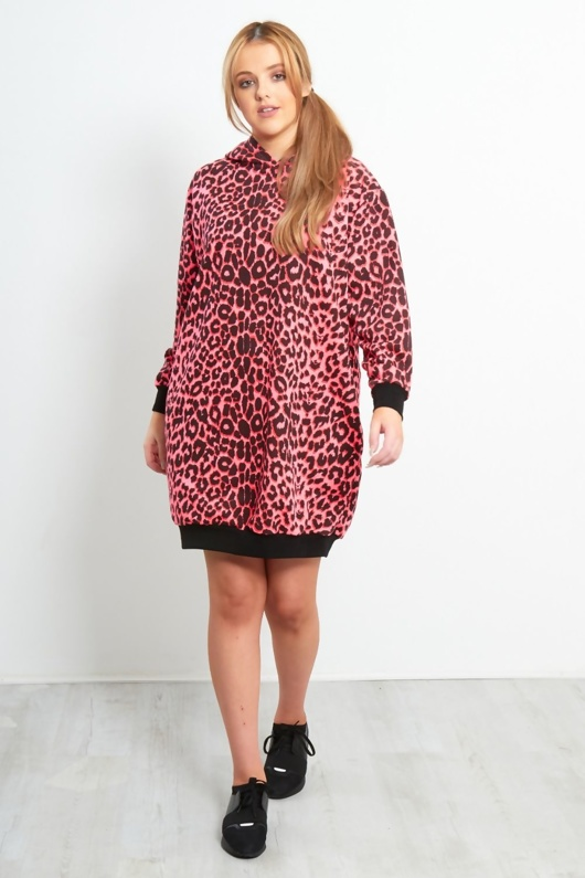 Neon Pink Leopard Oversized Pocket Hooded Sweat Dress