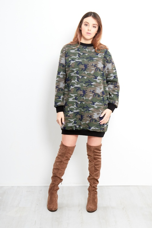 Camo Print Side Pockets Printed Oversized Baggy Fit Sweatshirt Dress
