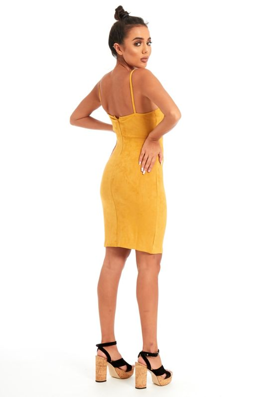 Mustard Strap Button Front Suede Mini Dress