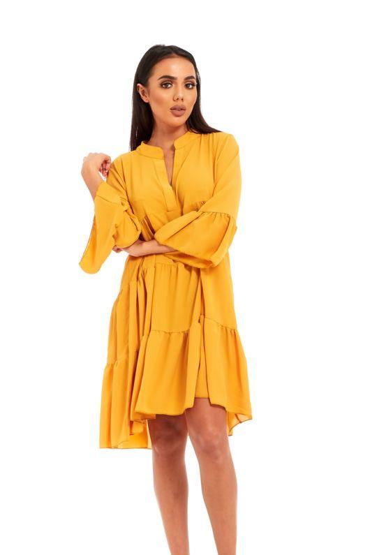 Yellow ruffle swing beach mini dress