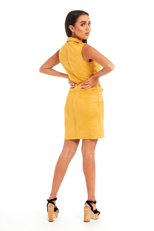 Mustard Collar Neck Full Zip Front Suede Mini Dress
