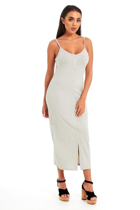 Grey Ribbed Button Front Tea Length Dress