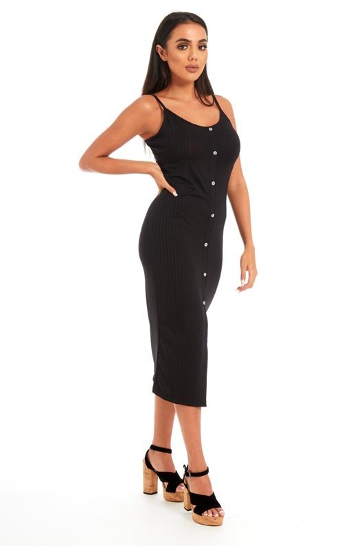 Black Ribbed Button Front Tea Length Dress