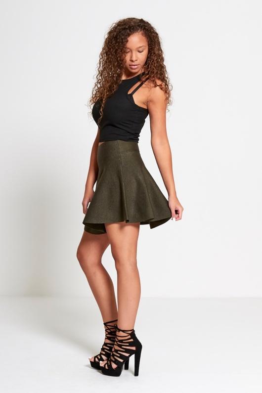 Khaki High Waisted Glitter Skater Skirt