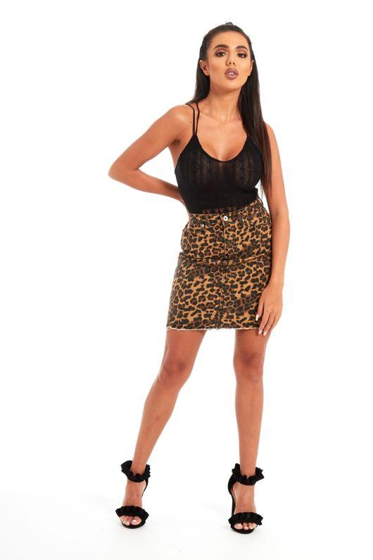 Leopard Print Denim Mini Skirt
