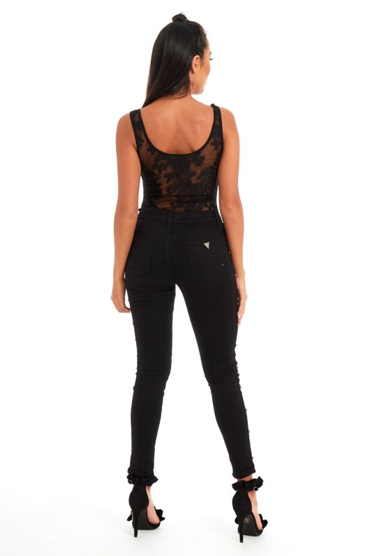 Black Floral Lace Scoop Neck Thong Bodysuit
