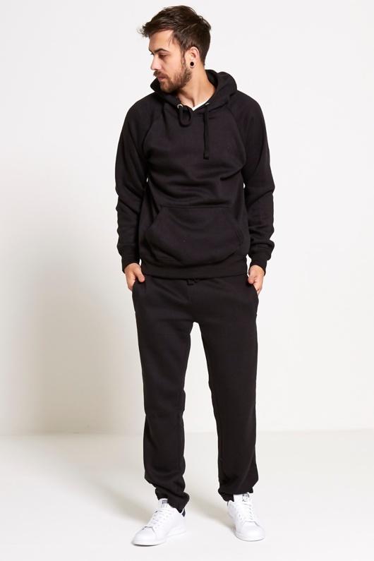 Black Basic Pullover Hood Tracksuit