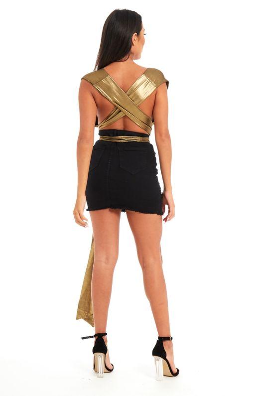 Gold Metallic Sheer Wrap Bodysuit