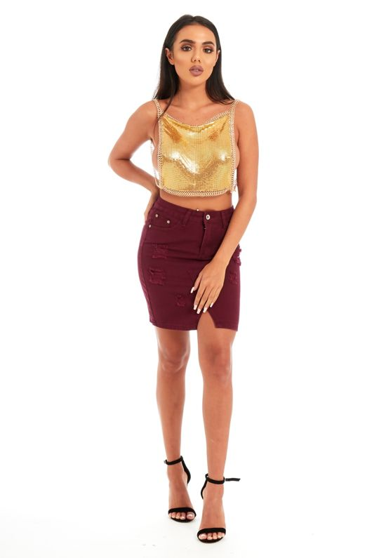 Gold Square Neck Chainmail Top