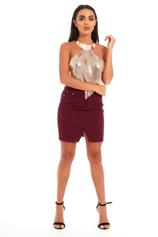 Rose Gold Halter Neck Chainmail Top