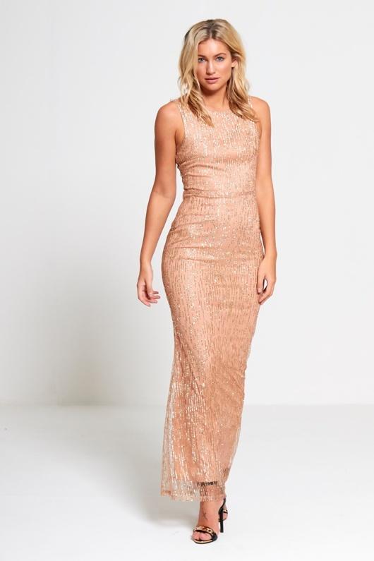 Nude Premium Lace Overlay Maxi Dress