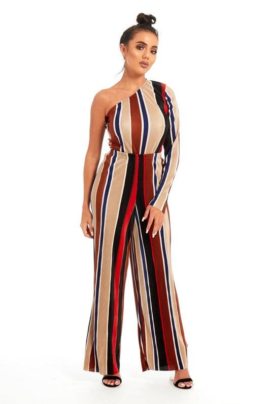 Multi Pleated Asymmetric Top And Wide Leg Trouser Set