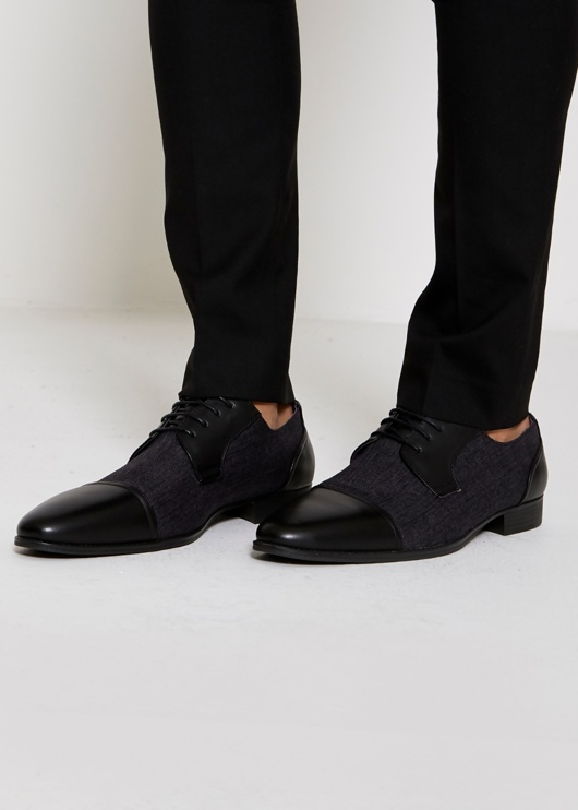Mens Black Lace Up Contrast Tweed Casual Derby Shoe