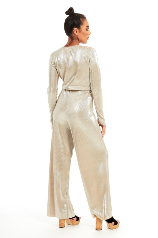 Gold Premium Shine Pleated Jumpsuit