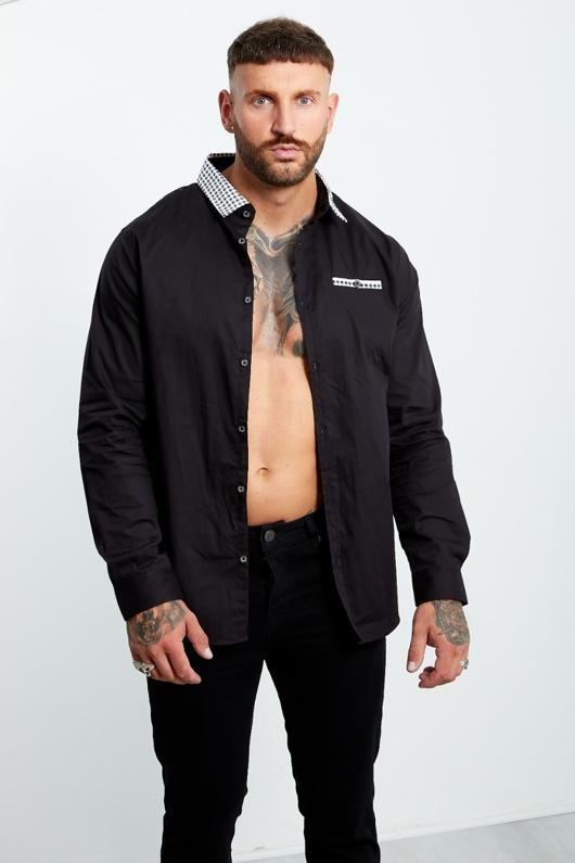 Mens Shape Printed Collar Black Long Sleeve Shirt
