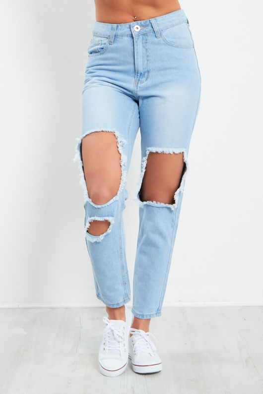 Blue Denim Extreme Rip Jean