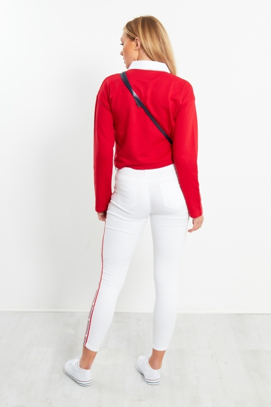 White Collar Polo Long Sleeve Crop Top