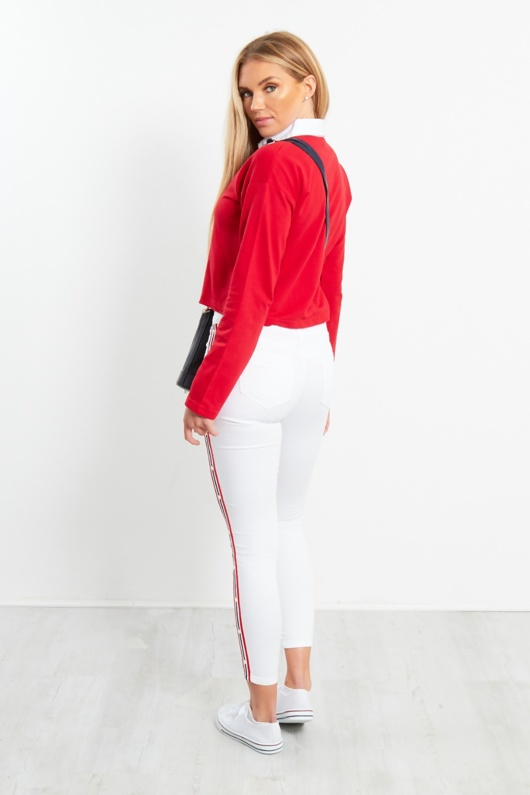 White Taped Cropped Jeans