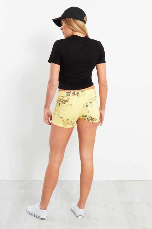 Yellow Floral Print Denim Shorts