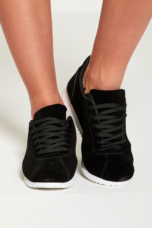 Black Suede Lace Up Trainers