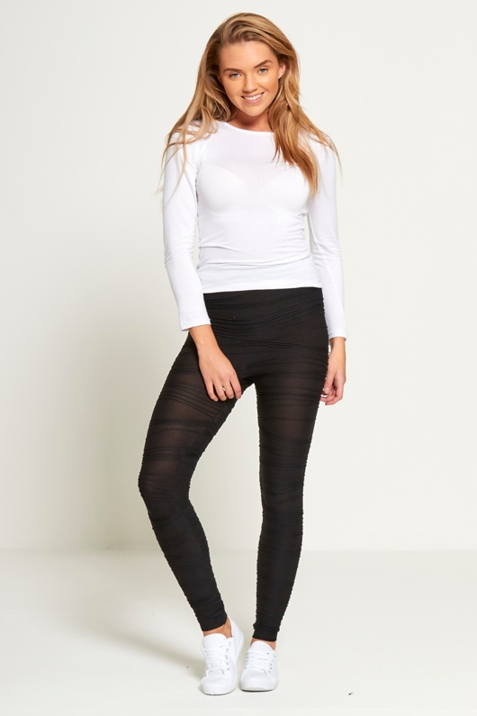 Black Ribbed Detail Leggings