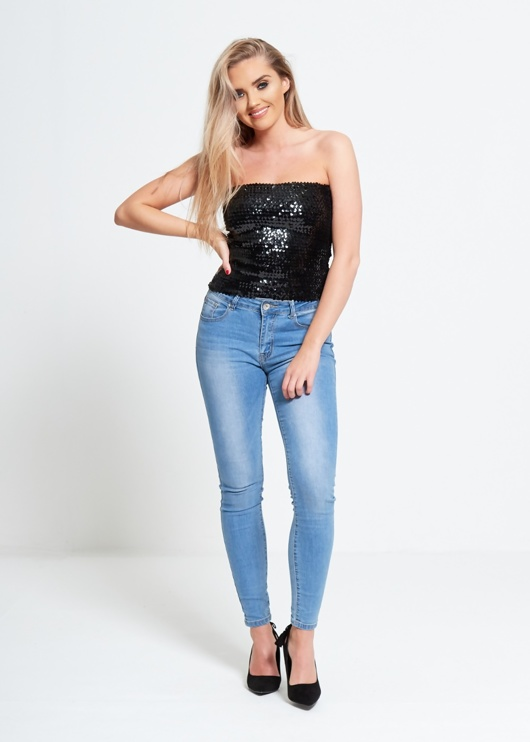 Black Bandeau Sequined Party Top