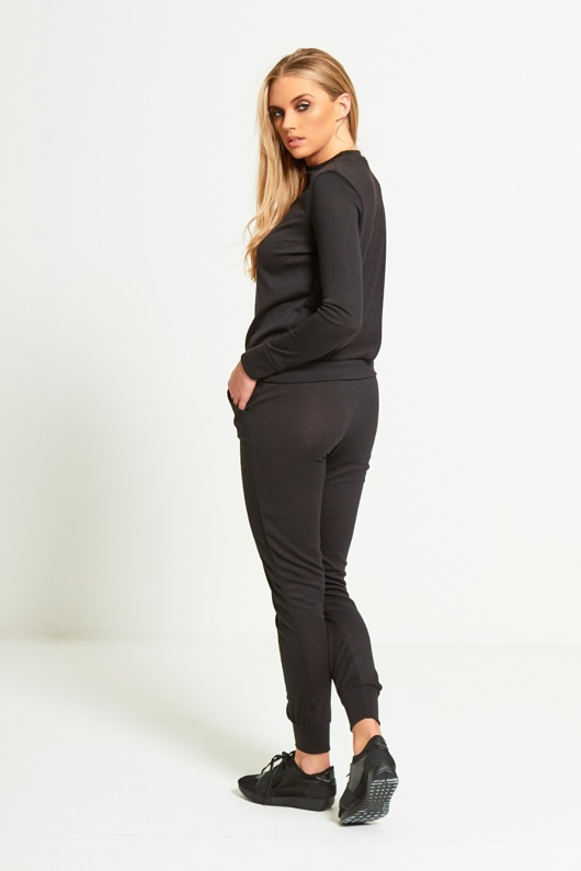 Black Marl Long Sleeve Basic Loungewear Set