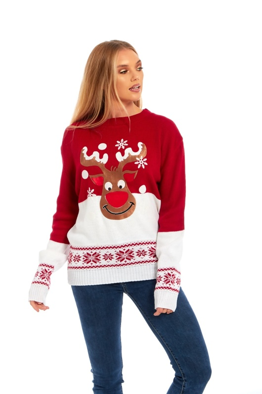 suede rudolph christmas jumper