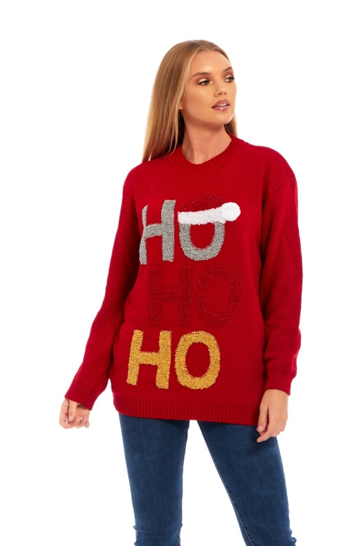 Red Ho Ho Glitter Hat Knitted Christmas Jumper