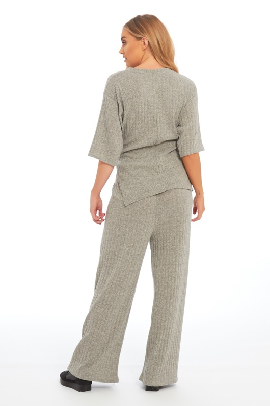 grey knot front top and pants set
