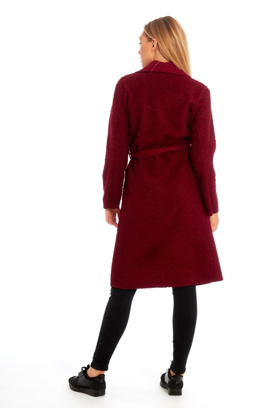 Wine Borg Belted Long Coat