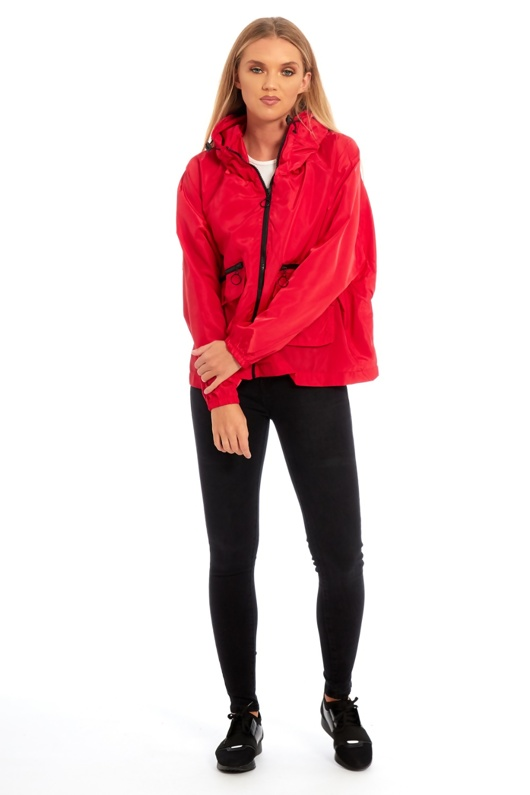 Red Crop Cagoule Jacket