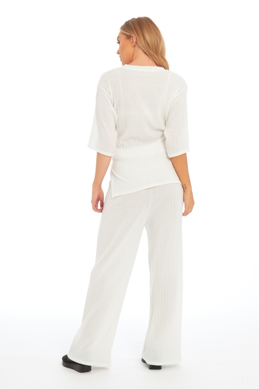 White Knot Front Top And Pants Set-Copy