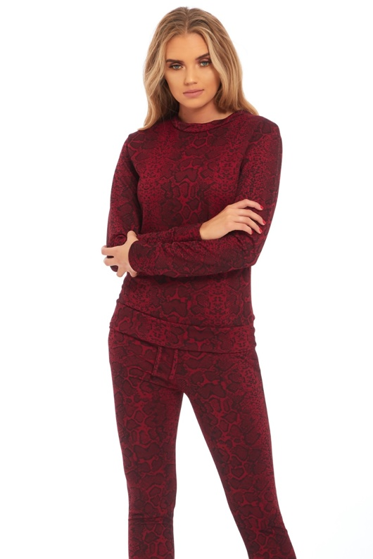 Wine Snake Print Loungewear Set