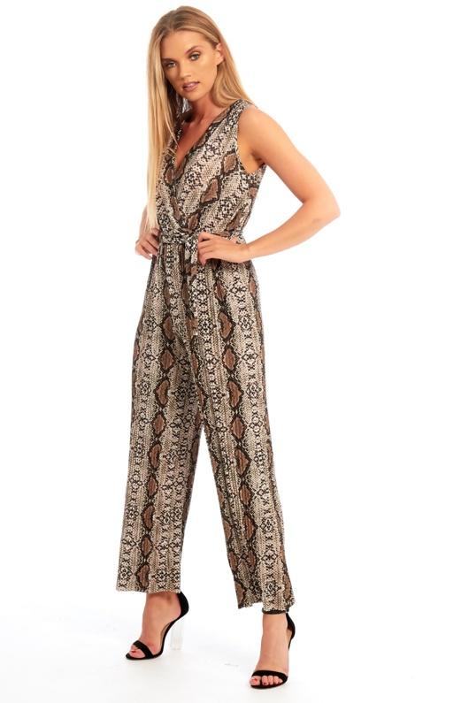 Brown Snake Print Pleat Jumpsuit